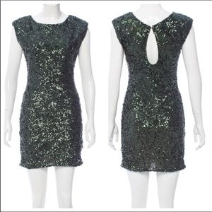 Alice + Olivia green sequined dress